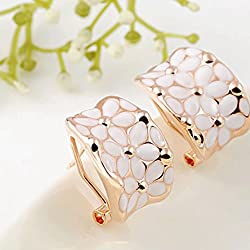 ELECTROPRIME Fashion Rhinestone Crystal Oil Drip Ear Clip Cuff Stud Earrings Gold Ladies
