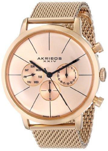 Akribos XXIV da uomo Ultimate Rose-Bracciale in oro bicolore a-Orologio da...