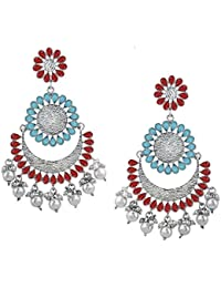 Spargz Ethnic Party Wear Multi Color Oxidised Plated Floral Enamel Work Chand Bali Earrings For Women AIER_1357