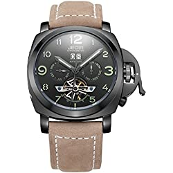 YPS Automatic SelfWind Men Alloy CaseMaterial Matte Leather Band Calendar Display Luminous Hands Wrist Watch WTH5295
