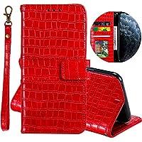 Miagon Crocodile Portefeuille Coque pour Huawei P30,Rétro PU Cuir Flip Cover Housse avec Carte de Crédit et Dragonne Fonction de Support Etui,Rouge