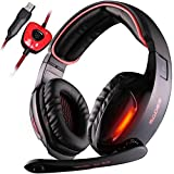 SADES SA902 7.1 Surround Sound Stereo Professionelle PC USB Gaming Headsets Stirnband Kopfhörer mit Mikrophon