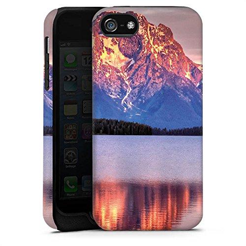 Apple iPhone 5s Housse Étui Protection Coque Paysage alpin Lac Forêt Cas Tough terne