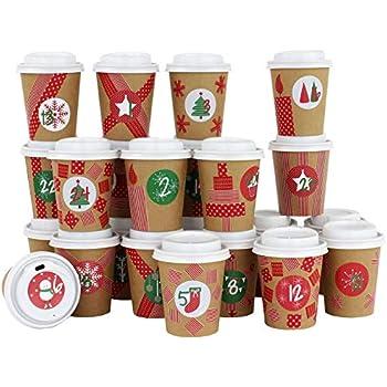 """Deko ROTH Adventskalender /""""Coffee-To-Go/"""" 24 Kaffeebecher Deckel Zahlenschilder"""