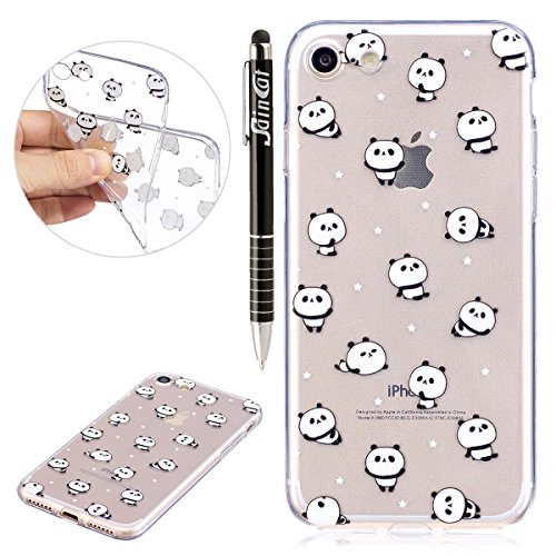 iPhone 6S Plus Hülle,iPhone 6 Plus Hülle,iPhone 6S Plus/6 Plus Silikon Hülle Tasche Handyhülle,SainCat Flamingos Flamingos Muster Ultra dünne Silikon Hülle Schutzhülle Durchsichtig Hadytasche Stoßfest Panda