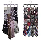 #10: Kuber Industries Single Piece 28 Rings Folding Rope Hanger for Scarf, Belts, Shawls, Ties and More (Random Color) - KI19590
