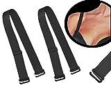 2 tlg. Set BH Träger - schwarz - 20 mm / 2 cm breit bis 45 cm LÄNGE - aus Baumwolle mit Metall Verschluß - für BH Push UP Bhträger Ersatz Ersatzträger auch für Bikini Halter abnehmbar
