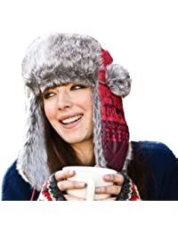 Womens Unisex Designer Fur Trimmed Trapper Thermal Winter Hat LRG 58cm Silver