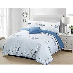 Bettbezug-Set aus 100% Baumwolle, Strandläufer-Motiv, 100 % Baumwolle, blau, Super King