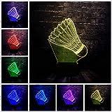 Lampe 3D Sporting Badminton Led 7 Changement De Couleur À Distance Usb Chambre Table Décor Humeur Nuit Lumière Vacances Amis Cadeau...