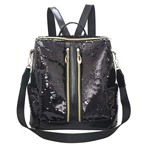 Rakkiss Pailletten-Rucksack, solide Messenger-Tasche, große Kapazität, Handtasche, Multifunktions-Schultertasche