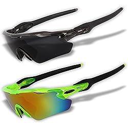 Juego de 2gafas de sol deportivas originales con lentes polarizadas + lentes de espejo [REK], REK02+REK04