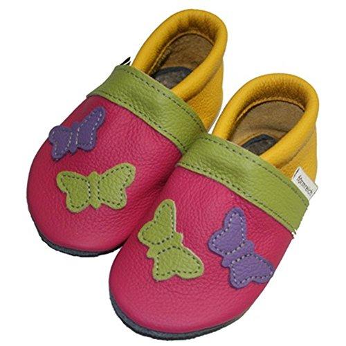 Krabbelschuhe/Babyschuhe formreich Schmetterling Pink-Gelb