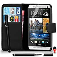 HTC One M7 Premium Leather Black Wallet Flip Case Cover Pouch + 2 IN 1 Ball Pen Touch Stylus Pen + RED 2 IN 1 Dust Stopper + Screen Protector & Polishing Cloth SVL6 BY SHUKANŽ, (WALLET BLACK)