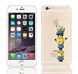 iCHOOSE iPhone 5S Caso / Minions Dibujos Animados Cubierta de Gel para Apple iPhone 5s 5 / Protector de Pantalla y Paño / Fácil para 3