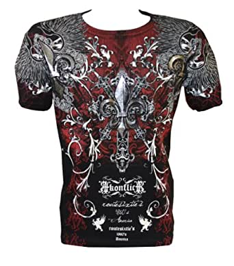 Konflic NWT Men's Rock Star Graphic MMA Muscle T-shirt, Black, Small
