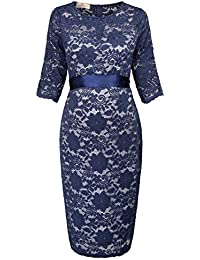 b9c60a2bf8ef7d GRACE KARIN Maternity Women Half Sleeve Hips-Wrapped Lace Party Dress