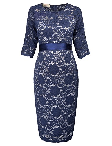 Elegant Damen Bleistift Kleid Frauen Lace Ball Cocktail Kleid M AF1026-3