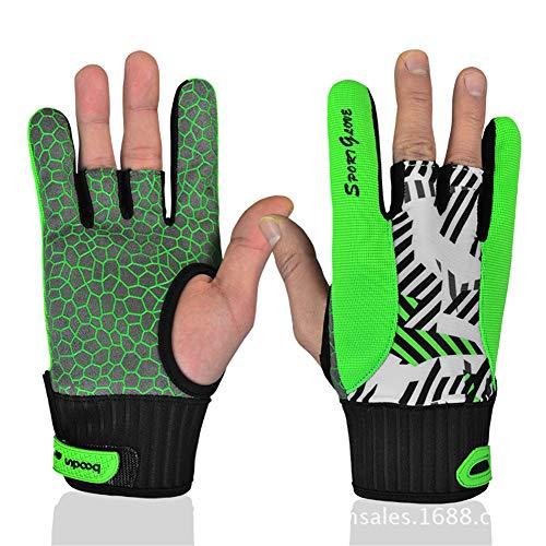 Komfortables Bowlingzubehör Halbfinger-Instrumente Sporthandschuhe Fäustlinge für das Bowling Rutschfeste Bowlinghandschuhe (Farbe : Grün, Größe : M)