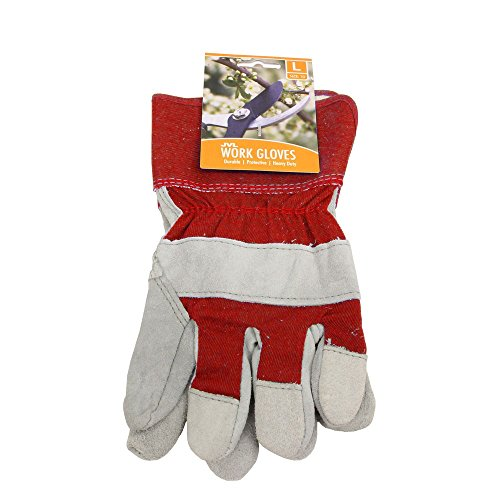 JVL Paar Rigger Leder Stoff Arbeit Garten-Handschuhe–Größe 10/groß, Rot