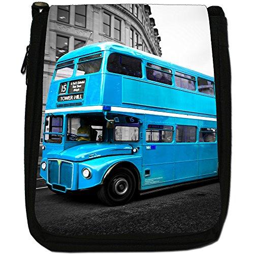 London Bus-Borsa a tracolla in tela, colore: nero, taglia: M Nero (Turquoise London Bus)