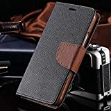 Finaux Stylish Luxury Mercury Magnetic Lock Diary Wallet Style Flip Cover Case for Lenovo K8Plus (Black Brown)