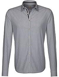Seidensticker Herren Langarm Hemd Schwarze Rose Slim Fit blau (marine) / weiß gestreift 240530.14