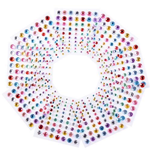 Strass Sticker Kristall Diamant Aufkleber Rund Selbstklebend Gem, 5 mm Durchmesser, 10 Farben, 1 600 Stück
