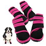 Emma Two Pairs Protective Rain Boots Waterproof Pet Dog Shoes Pink M