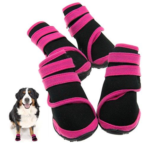 Preisvergleich Produktbild 4tlg M Haustier HUND Schuhe Pfotenschutz Hundesocken Leckschutz Rosa