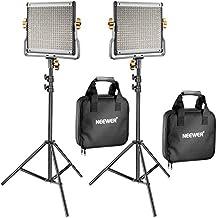 Neewer 2 Pack Regulable Bi-color 480 LED Luz de Vídeo y Kit de Iluminación,Incluye: 3200-5600K CRI 96 + Panel de LED con Soporte U,190CM Soporte de Luz para YouTube Estudio Fotografía Vídeo