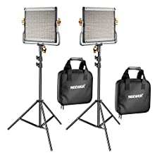 Neewer 2 Pack Dimmable Bi-color 480 LED Video Light and Stand Lighting Kit Includes: 3200-5600K CRI 96+ LED Panel with U Bracket, 74.8 inches Light Stand for YouTube Studio Photography Video Shooting
