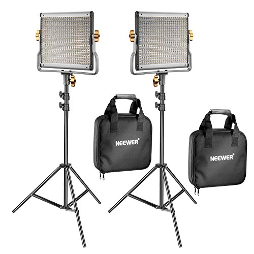 Neewer 2 Pack Regulable Bi-color 480 LED Luz de Vídeo y Kit de Iluminación