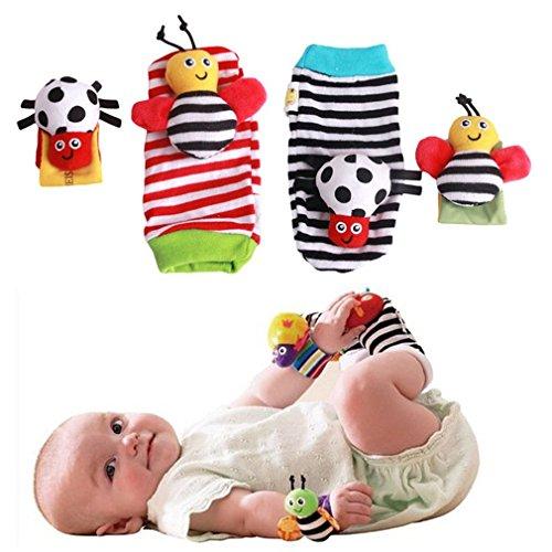 EJY Biene Rasseln Spielzeug Baby Plüschtiere, Kleinkindspielzeug Kinderwagen, Baby Rasseln – Handgelenk band Stil