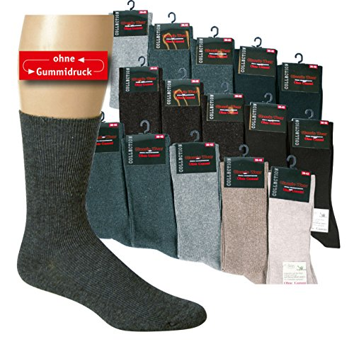 10 Paar Gesundheitssocken Baumwolle ohne Gummidruck für Damen und Herren, Farbe:Farbig sortiert;Größe:43-46 (Bekleidung 10 Top Herren)