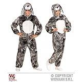 Lively Moments Overall Hase grau meliert / Bunny / plüschiger Jumpsuit mit Kapuze Gr. M / L ( H 175 cm ) / Erwachsenenkostüm / Tierkostüm / Ostern