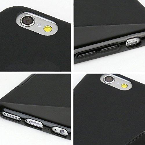 wortek® TPU Silikon Schutzhülle S-Line + extra Grip Apple iPhone 6 (4,7 Zoll) Schwarz iPhone 6S - Schwarz