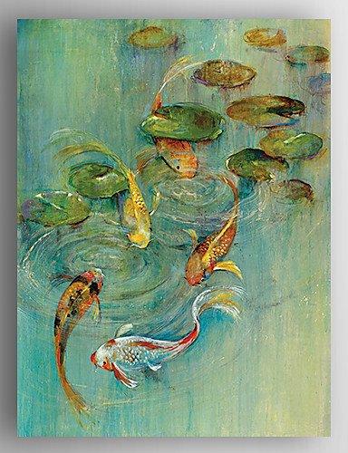 OFLADYH ® Ölbild Fische und Seerosen bemalte Leinwand mit gestreckten eingerahmt fertig zum Aufhängen , 24