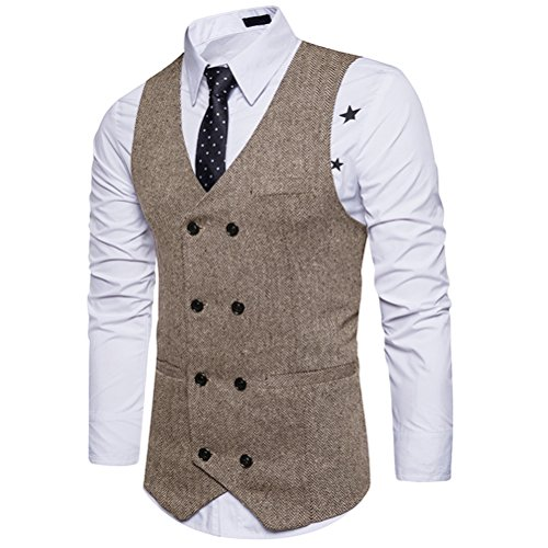 Zhhlaixing Mens adolescenti V-neck Double Breasted Sleeveless Formal Suit Blazer Waistcoat Panciotto Outwear Thanksgiving Christmas Gifts Khaki