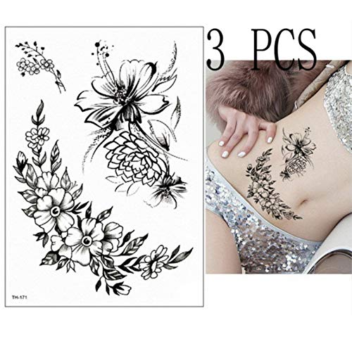 Yyydl adesivo tatuaggio temporaneo tatuaggio geisha tower adesivi tigre tatuaggio samurai tatoo team sposa tatto tatuaggio temporaneo tigre rimovibile 21 * 15 cm 3 pezzi