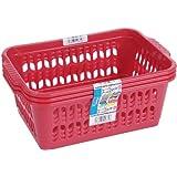 Wham Pink Set of 3 Medium Plastic Handy Fruit Vegetable Basket Kitchen Office Storage