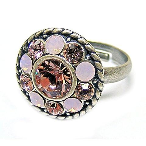 Ringe mit Swarovski-Kristallen versilbert verstellbar Kristallring Linus Jade Vintage Rose