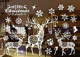 Noël Stickers Decoration Fenetre Noel, Autocollant Noël Mural Décoration Noël Fenêtre Vitrine Magasin Verre Mur Autocollant Merry Christmas Amovibles 55 X 38 cm /21.6 X 15 '' (802)...