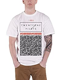 Twenty One Pilots 21 T Shirt Scale Pattern Strip Band Logo Official Mens White