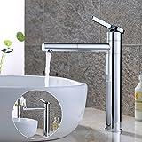 Homelody 360° verchromt Hohe Armatur Bad Wasserhahn Badarmatur Waschtischarmatur Mischbatterie Einhebelmischer Waschbeckenarmatur f.Badzimmer