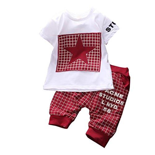 WangsAura, completino sportivo per bambino in 2 pezzi Star, pantaloni e maglietta Dark Red 0-6 Mesi/S