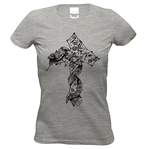 n T-Shirt :-: Halloweenshirt Bikershirt :-: Kreuz Shirt mit Schlange Farbe: dunkelgrau Gr: XL (Biker Girl Kostüm Halloween)