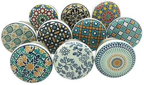 Juego de 10 pomos de cerámica para puertas de armario y cajones de G Decor, estilo vintage