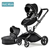 Hot Mom Limited Edition Kombikinderwagen und Buggy Sportwagen 3-in-1 Travelsystem 2016 mit Babywanne ,Schwarz