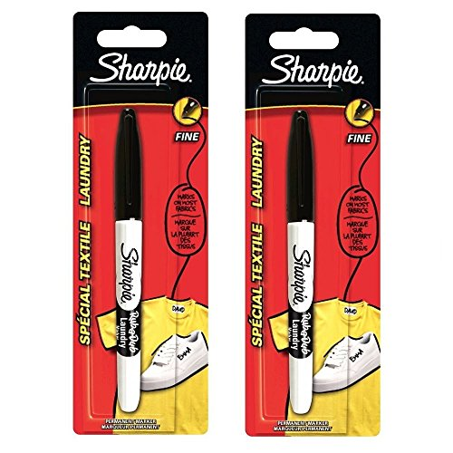 2-x-Sharpie-Rub-A-Dub-Laundry-Permanent-Marker-Uniform-Fabric-Clothing-Fine-Point--Black-Made-In-USA